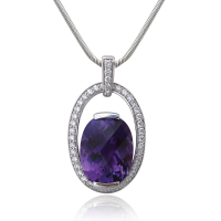 WG Amethyst Pendant Diamonds