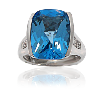 Blue Topaz with Diamonds