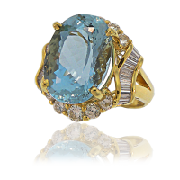 Aquamarine Ring with Diamonds YG