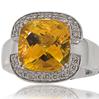 Citrine Ring with Diamonds WG