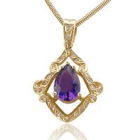 Amethyst Yg Pendant with Diamonds