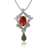 Pendant WG with Citrine and Peridot, Diamonds