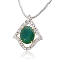 Emerald Pendant, Yg and Wg, Diamonds