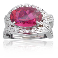 Rubelite Tourmaline Ring WG with Diamonds