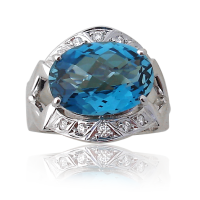 Blue Topaz Ring Wg with Diamonds